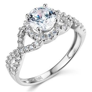 14K Woven 1.25CT Round-Cut Halo CZ Engagement Ring